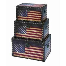 3 Piece Patriotic Awesome Storage Trunk Set by ABC Home Collection