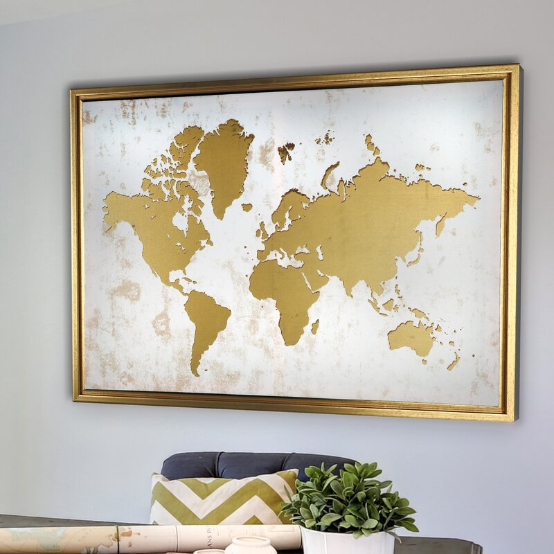 Ivy bronx framed world map graphic art print on canvas reviews framed world map graphic art print on canvas gumiabroncs Image collections