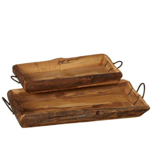 Vuong Vintage Carved 2 Piece Accent Tray Set by Millwood Pines
