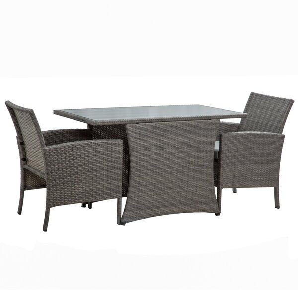 Mccollom Patio Furniture All-weather 3 Piece Dining Set with Cushions