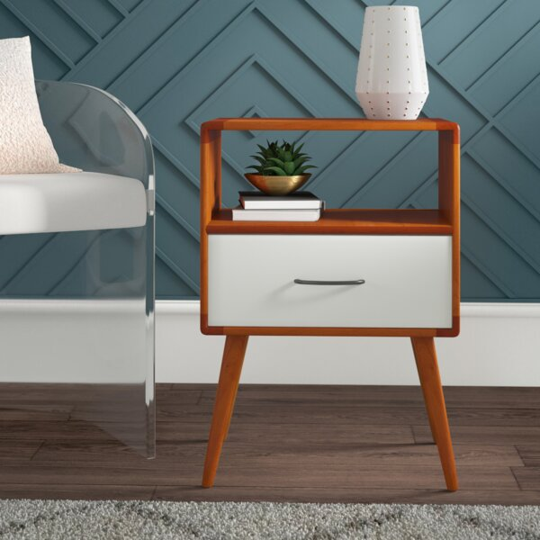 Collado Solid Wood End Table with Storage by Mercury Row