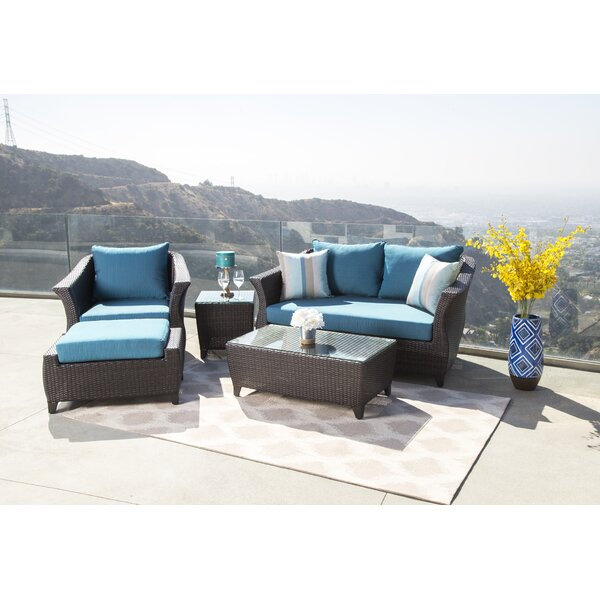 Lemanski 5 Piece Rattan Sunbrella Sofa Set with Cushions by Latitude Run