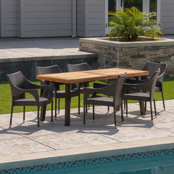 Melby Outdoor Acacia Wood/Wicker 7 Piece Dining Set by Wrought Studio