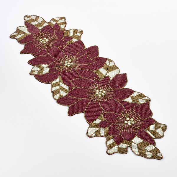 Beaded Poinsettia Runner by The Holiday Aisle