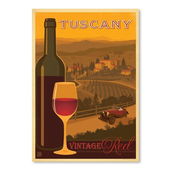 Wine Tuscany Red Vintage Advertisement by East Urban Home