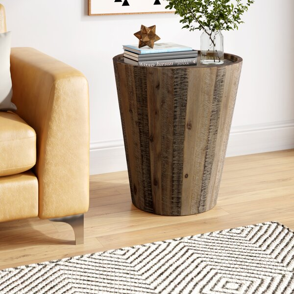 Limones Solid Wood Tray Top Drum End Table By Brayden Studio