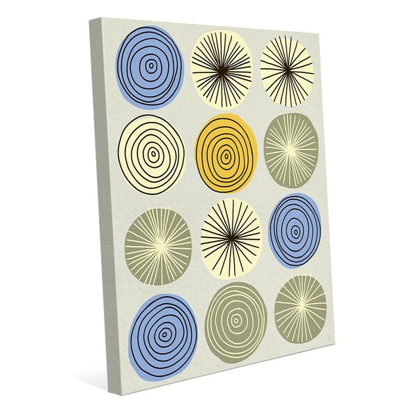 Circle Explosion Blue Painting Print on Wrapped Canvas by Click Wall Art