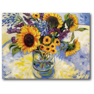 'Sunflowers' Painting Print on Wrapped Canvas by August Grove