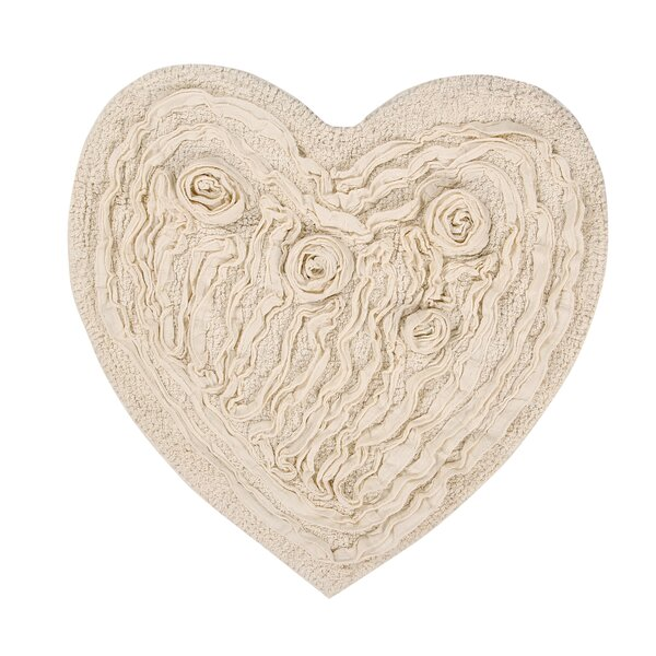 Loganne Heart 100% Cotton Floral Bath Rug