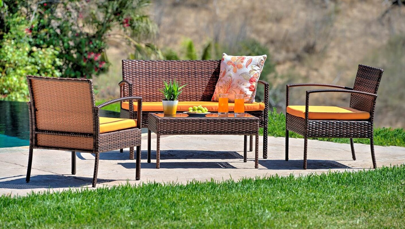 Best Choices 4 Piece Patio Sofa Set With Cushions By Best