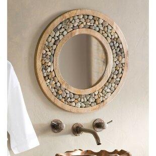 Bloomsbury Market Froelich Riverstone Framed Round Accent Mirror