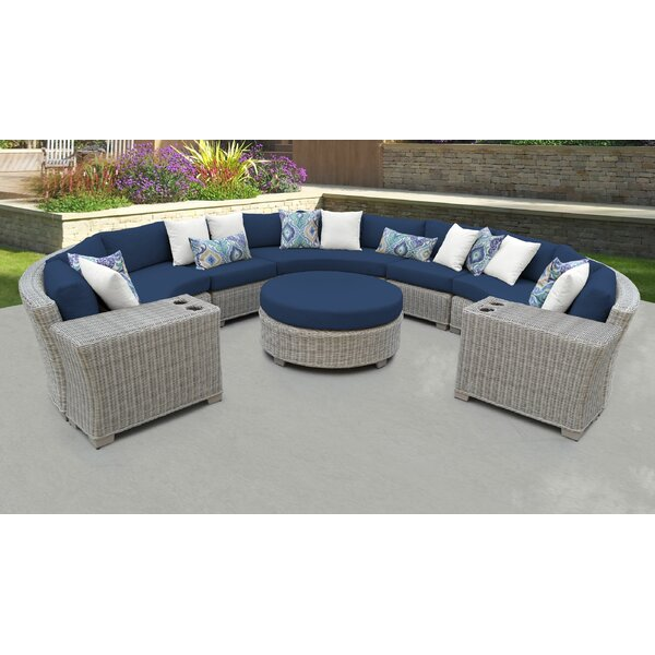 Claire 8 Piece Rattan Sectional Seating Group with Cushions by Rosecliff Heights Rosecliff Heights
