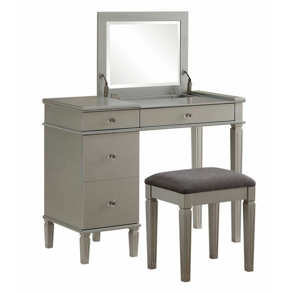 Anja Vanity Set with Stool and Mirror by Rosdorf Park