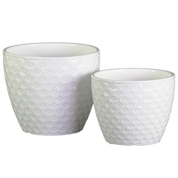 Graver Ceramic Round Pot Planter Set (Set of 2) by Orren Ellis