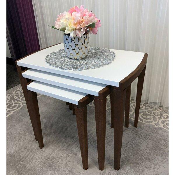 Review Red Barrel Studio 3 Pcs Nesting Table, White, Ecru