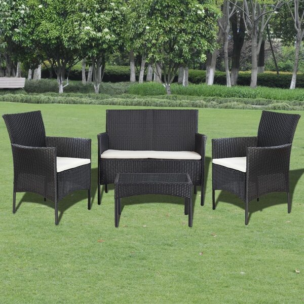 Roof Garden 4 Piece Rattan Sofa Seating Group with Cushions by Orren Ellis