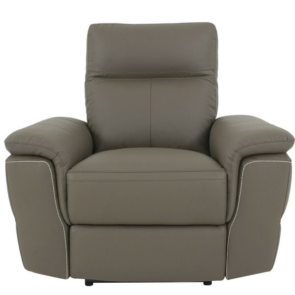 Aarav Upholstered Leather Power Recliner by Latitude Run
