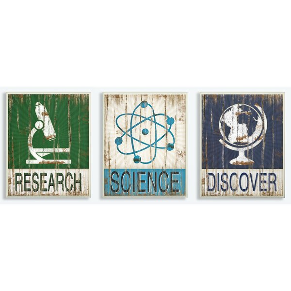 Science Discover Decorative Plaque (Set of 3) by Stupell Industries