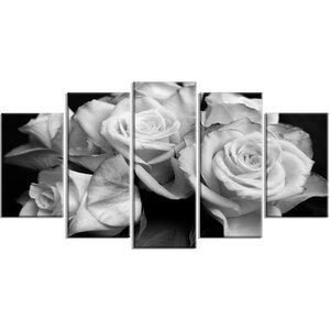 'Bunch of Roses' 5 Piece Wall Art on Wrapped Canvas Set in Black/White by Design Art