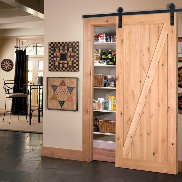 Farm Style Solid Wood Panelled Wood Prehung Interior Barn Door Kit by Merry Products