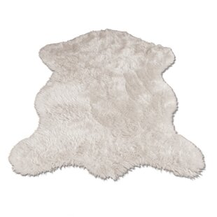 Ahamed Polar Bear Pelt Faux Fur White Area Rug