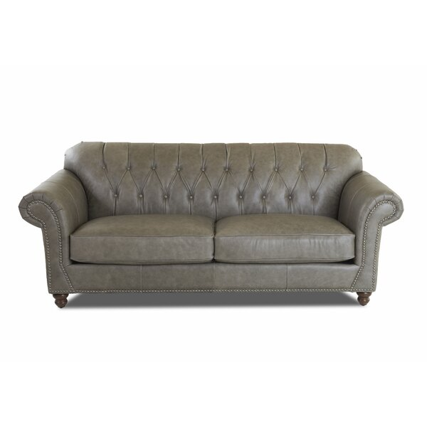 Oxfordshire Leather Sofa by Three Posts