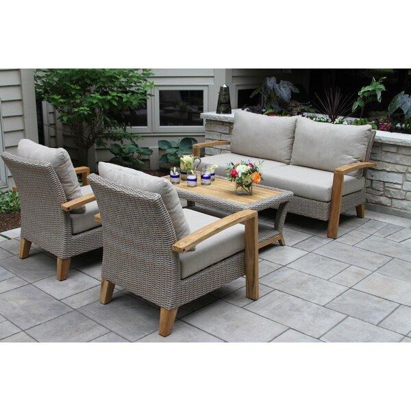 Dillard 4 Piece Sofa Seating Group with Cushions b
