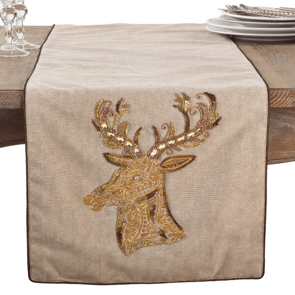 Beaded Embroidered Reindeer Christmas Holiday Cotton Table Runner by The Holiday Aisle