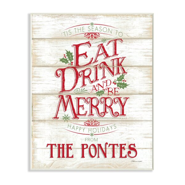 Personalized Eat Drink Be Merry Holiday Textual Art on Plaque by Stupell Industries