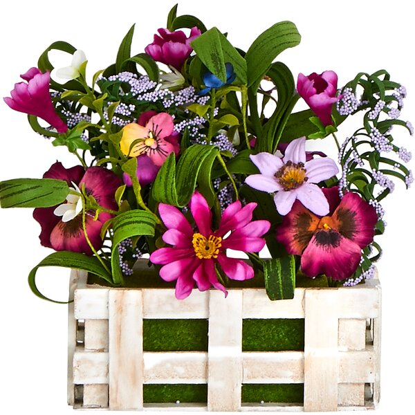 Wild Flowers Mixed Floral Arrangement in Wood Open Box by Worth Imports