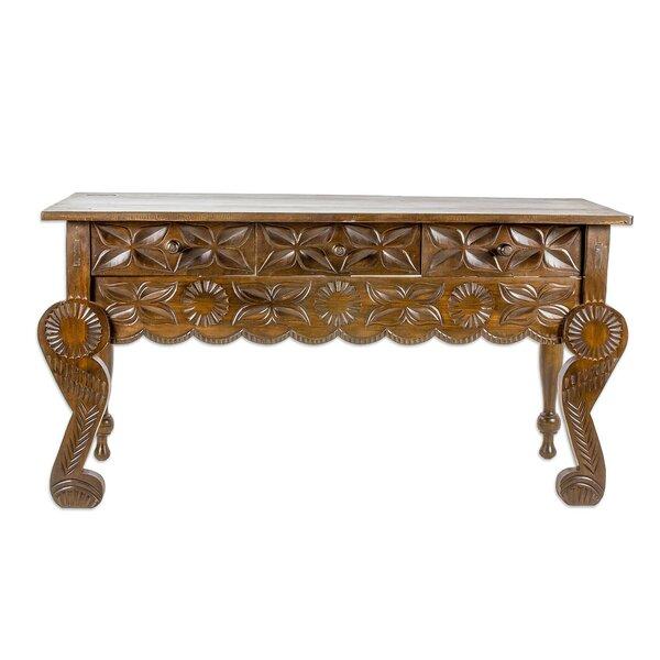 Review Alfret Floral Banquet Wood Console Table