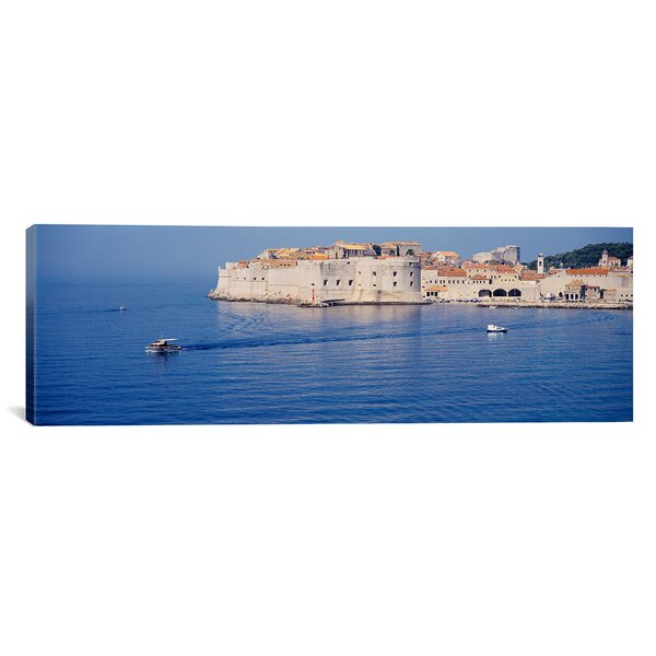 Panoramic Two Boats in the Sea, Dubrovnik, Croatia Photographic Print on Wrapped Canvas by iCanvas