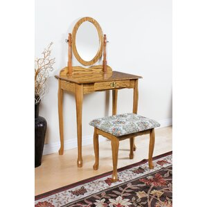 Queen Anne Vanity Set with Mirror by ACME Furniture