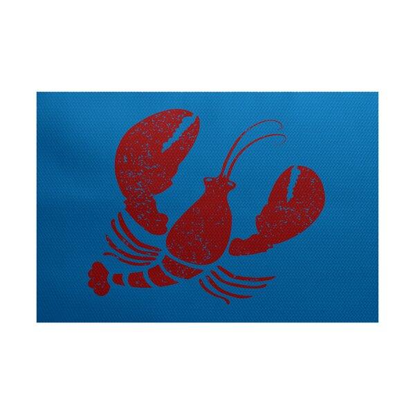 Hancock Blue/Red Indoor/Outdoor Area Rug by Breakwater Bay