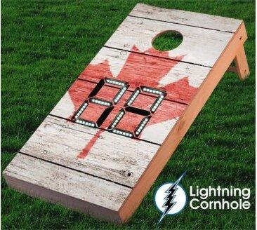 Electronic Scoring Maple Leaf Textured Cornhole Board by Lightning Cornhole