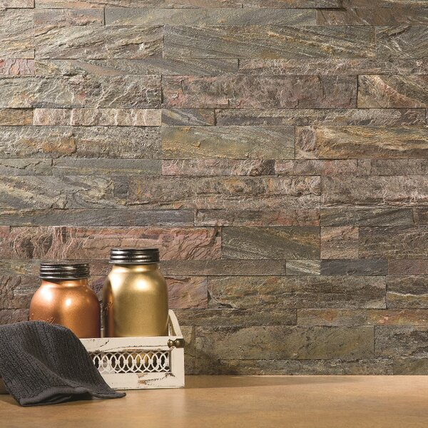 5.9 x 23.6 Natural Stone Peel & Stick Mosaic Tile in Weathered Quartz by Aspect