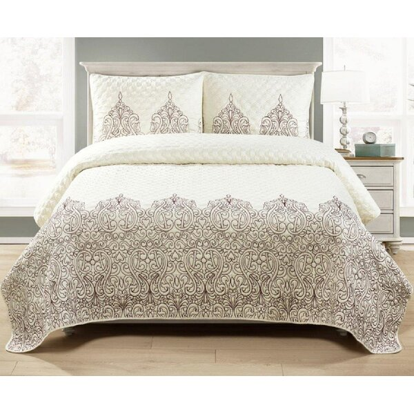 Stefan Embroidered 3 Piece Queen Quilt Set by Bungalow Rose