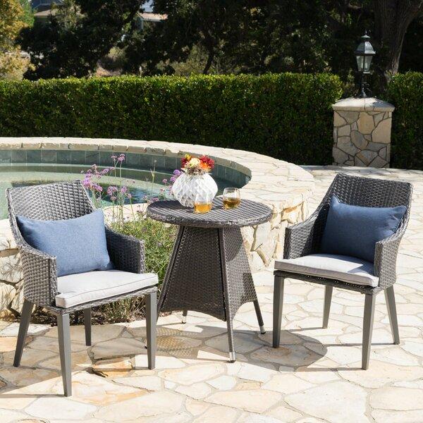 Backlund Outdoor Wicker 3 Piece Bistro Set with Cushions