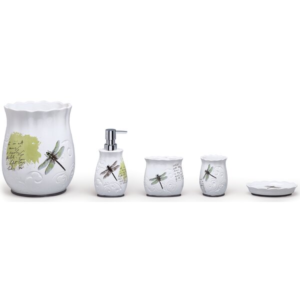 Dragonfly Ceramic 4-Piece Bathroom Accessory Set by Moda At Home