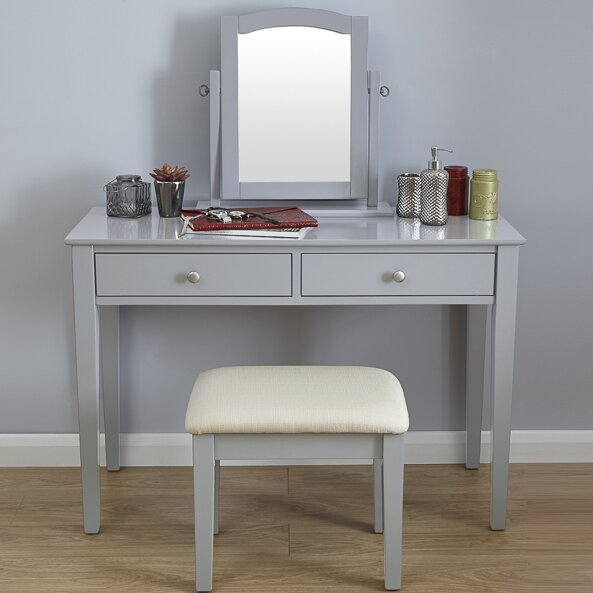 Riley Ave Andre Dressing Table Set With Mirror Amp Reviews