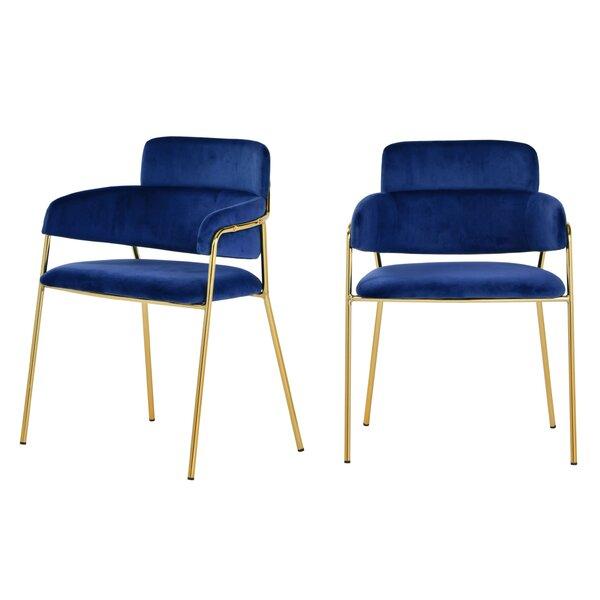 Wendell Modern Blue Velvet & Gold Dining Chair (Set of 2) (Set of 2) by Everly Quinn