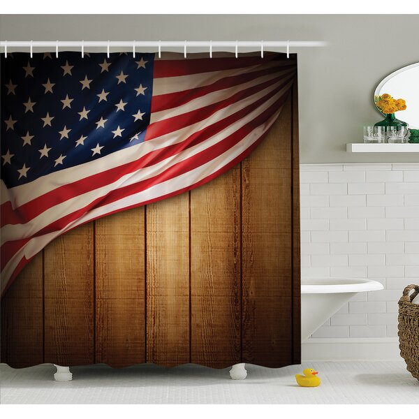 USA Design on Vertical Lined Retro Wooden Rustic Back Glory Country Image Shower Curtain Set by East Urban Home