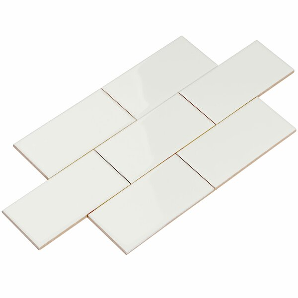 3 x 6 Ceramic Subway Tile in White by Giorbello