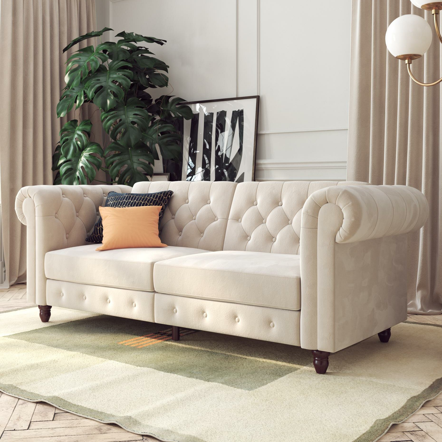 Dallas Velvet 89 5 Rolled Arm Sofa