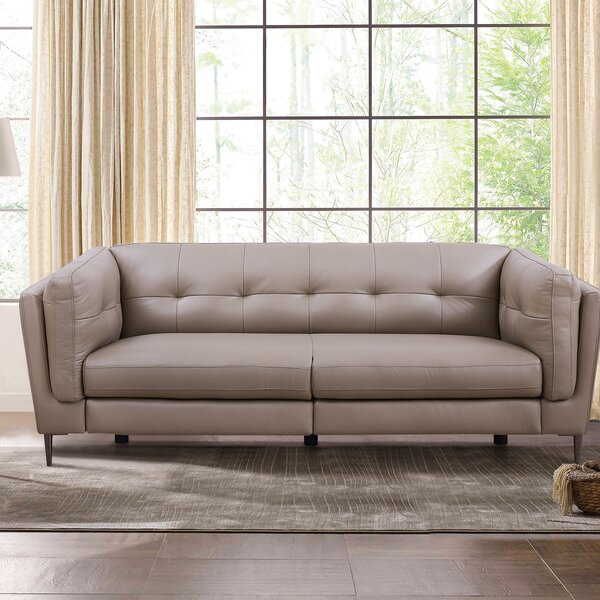 Goodner Leather Reclining Sofa by Latitude Run