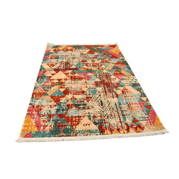 Izaak Vintage Cream/Red Area Rug by Ivy Bronx