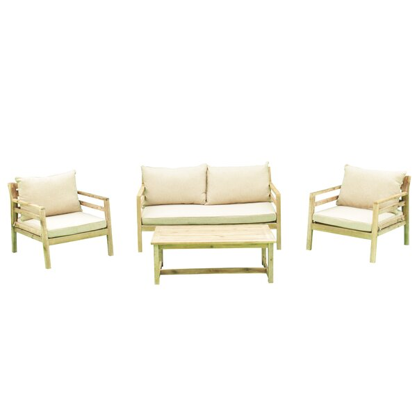 Ekaterina Outdoor 4 Piece Sofa Seating Group with Cushions by Union Rustic