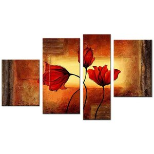 Floral Textured 4 Piece Painting on Canvas Set by Design Art