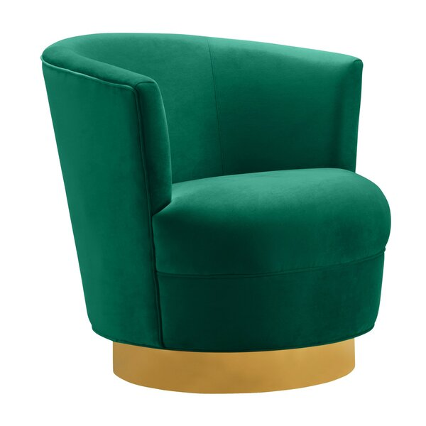 Delmer Swivel Barrel Chair by Everly Quinn