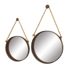 2 piece metal wall mirror set